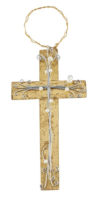 Mud Pie MP 46700048PG Pearl Gold Cross Ornament