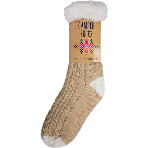 Simply Southern SS 0192 Camper Socks-Cable Cream