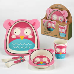 Certified International CI 44048 Owl Bamboo Fiber 5pc Kids Dinnerware Set