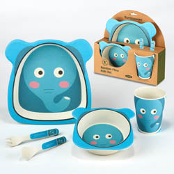 Certified International CI 44045 Elephant Bamboo Fiber 5pc Kids Dinnerware Set