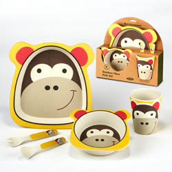 Certified International CI 44044 Monkey Bamboo Fiber 5pc Kids Dinnerware Set
