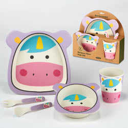Certified International CI 44047 Unicorn Bamboo Fiber 5pc Kids Dinnerware Set