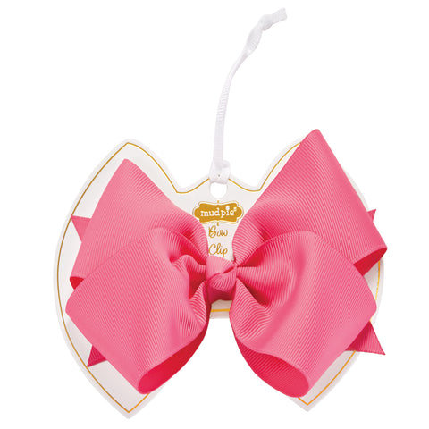 Mud Pie MP 10160049 Hot Pink Bow Clip