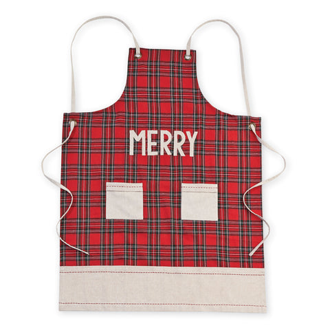 Mud Pie MP 4024005M Merry Tartan Apron