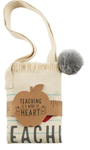 Mud Pie MP 40300006H Heart Pom Pom Teacher Tote