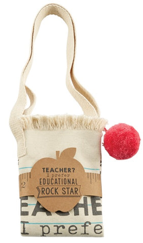 Mud Pie MP 40300006R Rock Star Pom Pom Teacher Tote