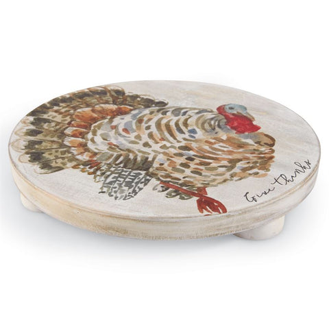 Mud Pie 40000002 Turkey White Wash Wood Trivet