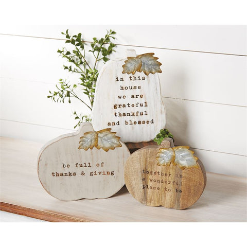 Mud Pie 43400053G Gray Wood Pumpkin Plaque
