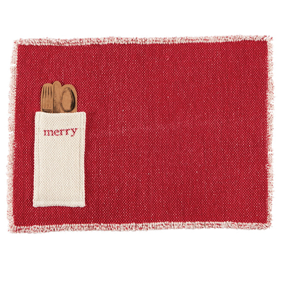 Mud Pie MP 41160003M Merry Dhurrie Place Mat
