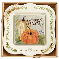 Mud Pie MP 41100015 Gather Pumpkin Cheese Set