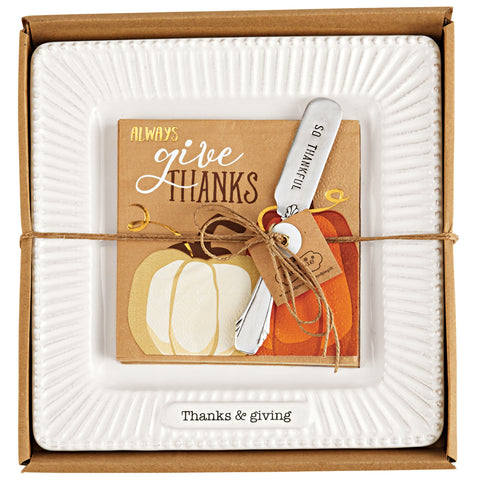 Mud Pie MP 41100020T Thanks Thanksgiving Cheese Set