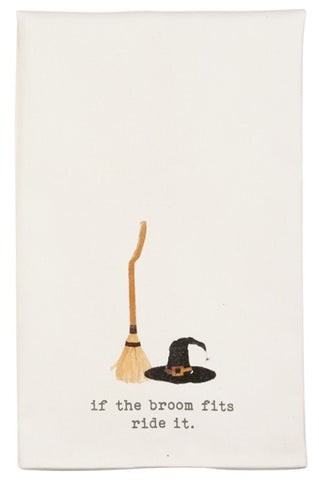 Mud Pie MP 41500028B Broom and Hat Icon Hand Towels