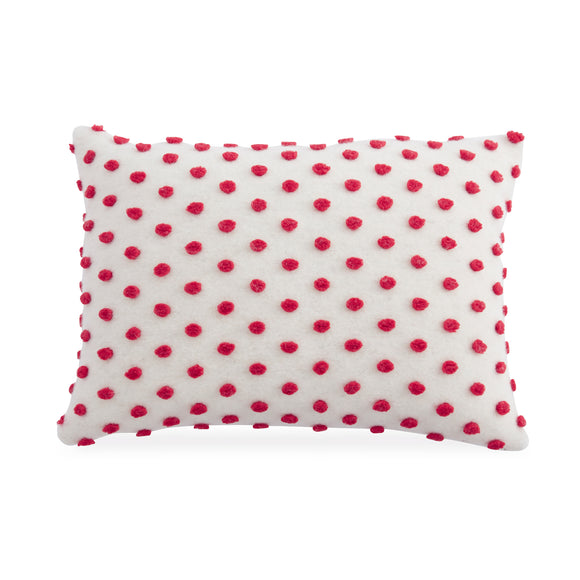 Mud Pie MP 41600176L Lumbar Red Pom Pom Pillow