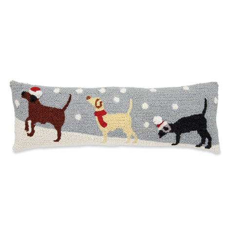 Mud Pie MP 41600247 Snow Dogs Hooked Wool Pillow