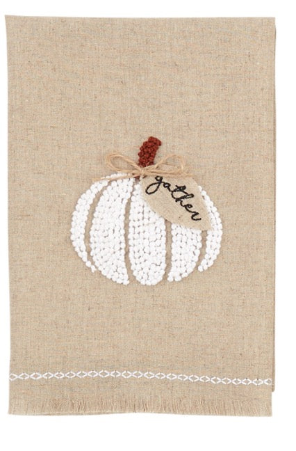 Mud Pie MP 4404226G Gather Pumpkin French Knot Towel