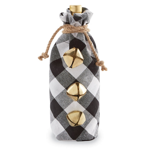 Mud Pie MP 48600077B Black Buffalo Check Wine Bag