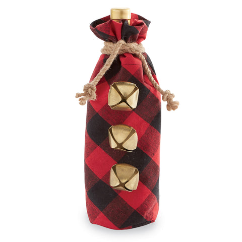 Mud Pie MP 48600077R Red Buffalo Check Wine Bag