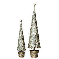 "Dekorasyon Gifts DG EP-0P632-DC 9"" Neo Holly Topiary Tree w/Star (Dark Champagne)"