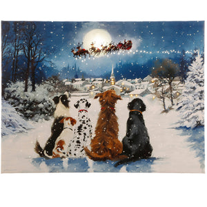 "Raz Imports RZ 3739408 24"" Dogs Watching Santa Lighted Print"