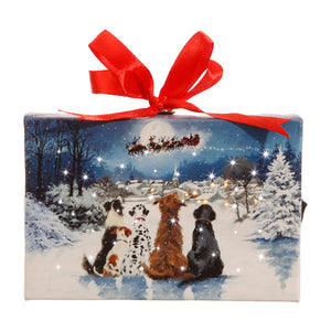 "Raz Imports RZ 3739409 6"" Dogs Watching Santa Lighted Print Ornament w/Easel Back"