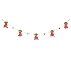 burton + BURTON BB 9736733 Red Christmas Trees with Bells Garland