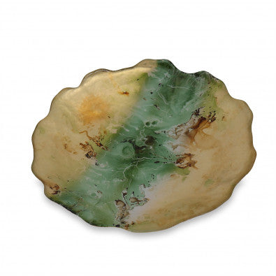 Beatriz Ball BB 2255 New Orleans Glass Centerpiece w/Scalloped Edges Green/Gold Marble