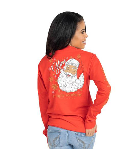 Simply Southern SS LS-SANTA-RED Long Sleeve Ladies T-Shirt