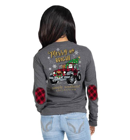 Simply Southern SS LS-MERRY-DKHTHGRY Long Sleeve Ladies T-Shirt