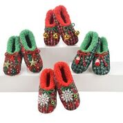 Snoozies WUXP-PRESS Women's Ugly Christmas Slippers Red Plaid w/Bells Snoozies Small