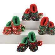 Snoozies KUXPR-LITESS Kids Ugly Christmas Slippers Prints Lights - Black/Green Small