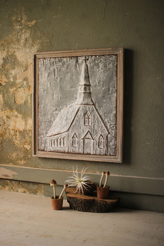 Kalalou Inc KI CVY1144 Wood Framed Pressed Metal Church - Large