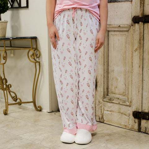 The Royal Standard 127320116 Champagne Dreams Sleep Pants Light Pink/Mauve/White