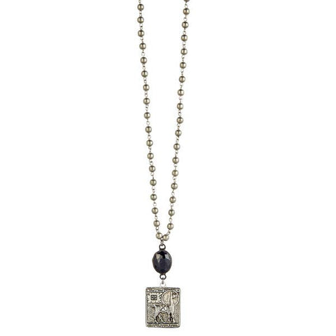 Lula 'n' Lee LL LN1161-34 36' Metallic Bead Necklace with Soldered Black Connector and Hand Cast Pewter Pendant