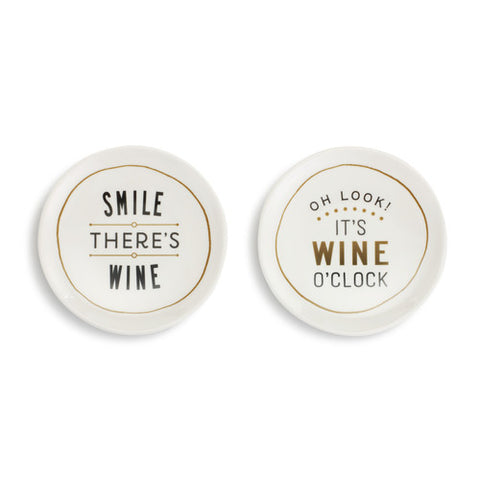 Demdaco 1004180545 Set of 2 Wine O'Clock Appetizer Plates
