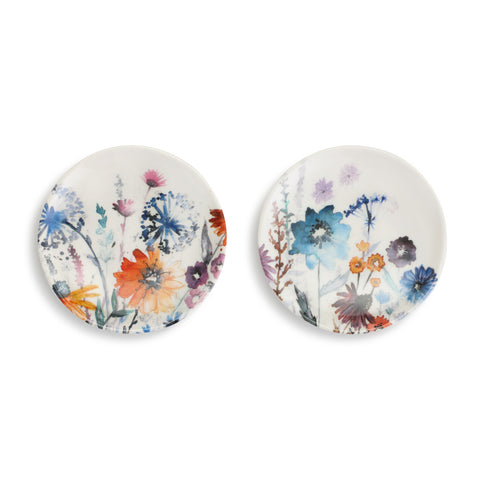 Demdaco 1004180547 Set of 2 Meadow Flowers Wine Appetizer Plates