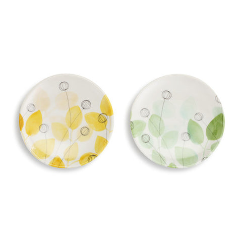 Demdaco 1004180550 Set of 2 Summer Floral Wine Appetizer Plate
