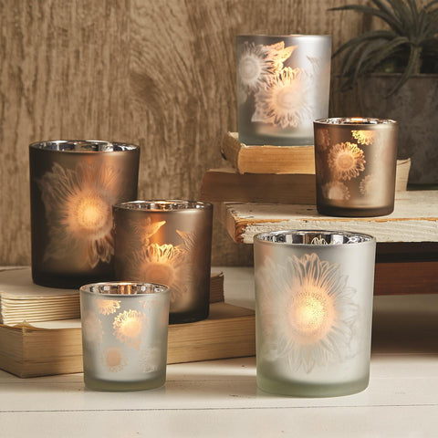 Twos Company TC 52840-20 Sunflower Silhouettes Frosted Tealight Candle Holder