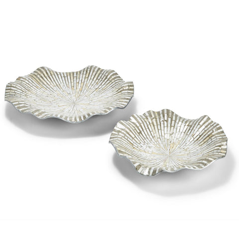 Twos Company TC LAC128-S2 Grey Pearls Wave Bowl
