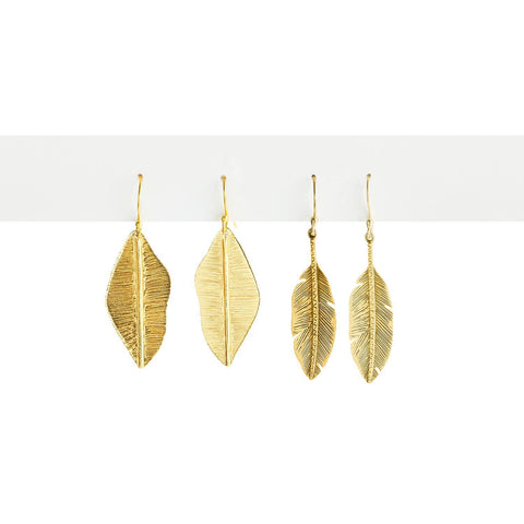 Twos Company TC 100071-20 Gold Feather Earrings