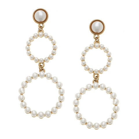 Canvas Jewelry CJ 20802E-IV Scarlett Linked Hoop Earrings in Ivory Pearl
