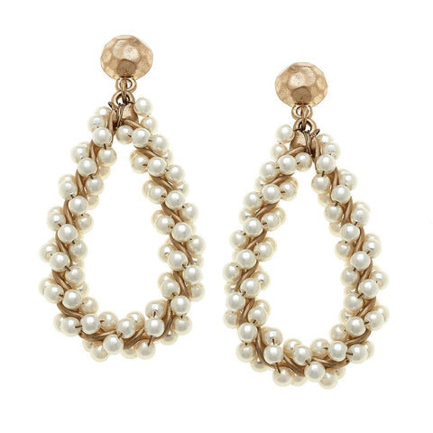 Canvas Jewelry CJ 20538E Abigail Teardrop Earrings in Ivory Pearl