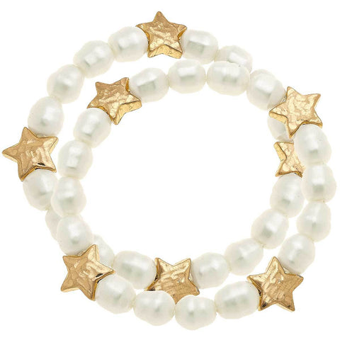 Canvas Jewelry CJ 21068B-IV Sarah Star Stretch Bracelet in Ivory Pearl
