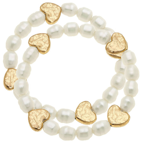 Canvas Jewelry CJ 21067B-IV Sarah Heart Stretch Bracelet in Ivory Pearl