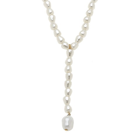 Canvas Jewelry CJ 21062N-IV Baroque Pearl Y Necklace in Ivory