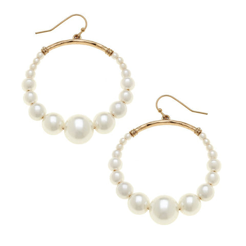 Canvas Jewelry CJ 20639E Delilah Hoop Earrings in Ivory Pearl