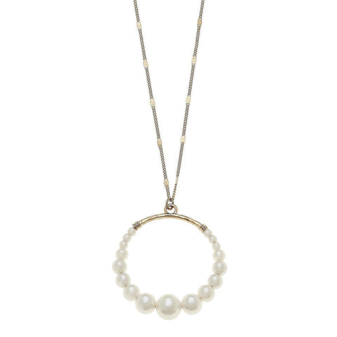 Canvas Jewelry CJ 20658N Delilah Pendant Necklace in Ivory Pearl