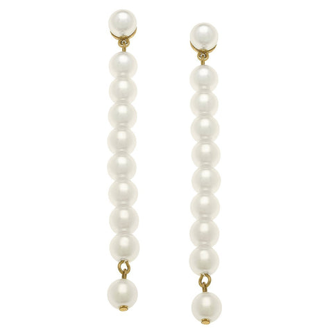 Canvas Jewelry CJ 21066E-IV Macy Pearl Drop Earrings in Ivory