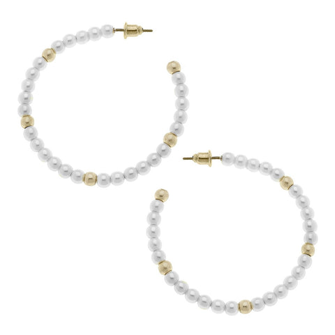 Canvas Jewelry CJ 20145E Allie Hoop Earrings in Ivory Pearl