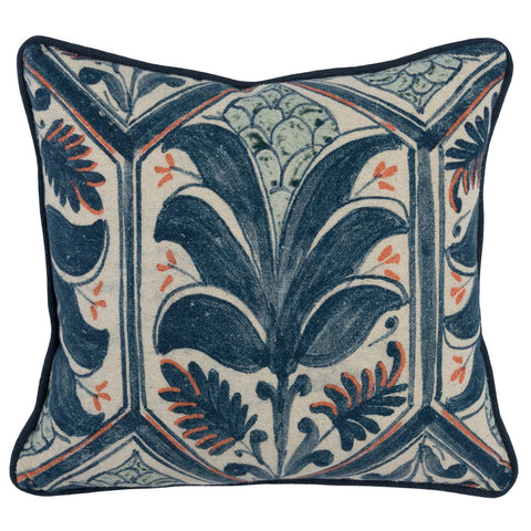 Classic Home CH VE40006 Iris Navy Blue/Coral Pillow