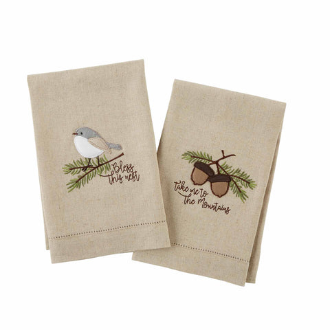 Mud Pie MP 41500131 Pine Appliqué Towels